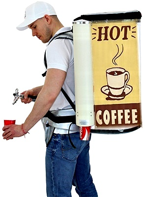 Coffee, tea, mulled wine and all still cold beverages. No Drinks Backpack is better equipped to meet the requirements for safety and isolation when dispensing warm beverages.